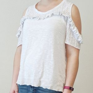 ☕Maurices white cold shoulder blouse size XL